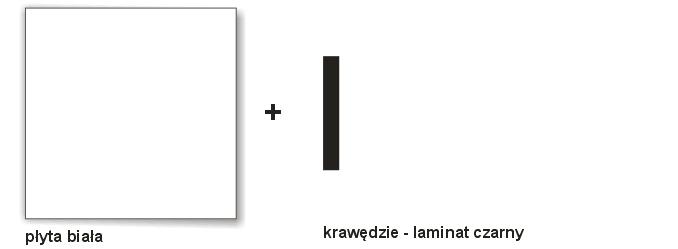 biala płyta + czarne obrzeże laminat
